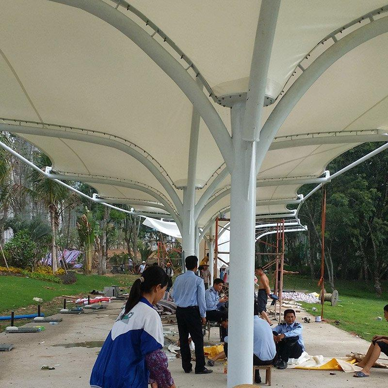 Sports tent roof cover canopy tensile white membrane q235 steel structure canopy