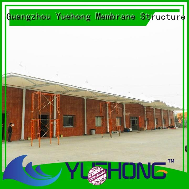 Yuehong steel car parking shed design door awning for schools