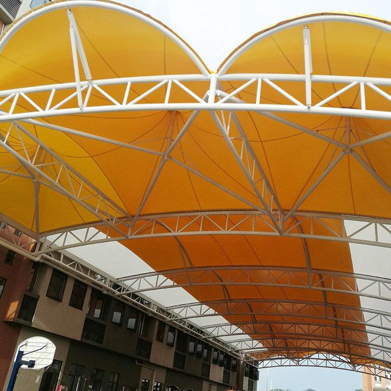PVC tensile fabric membrane canopy for sports ground